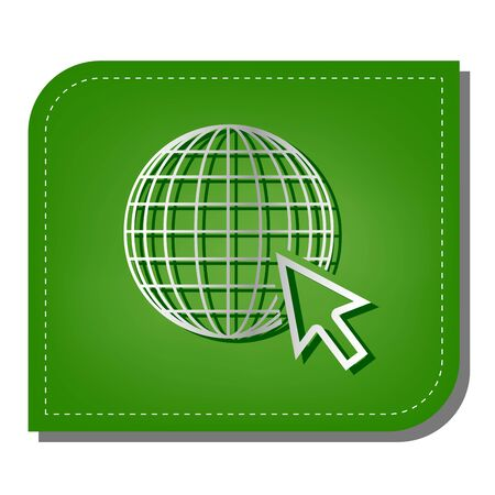 Earth Globe with cursor. Silver gradient line icon with dark green shadow at ecological patched green leaf.