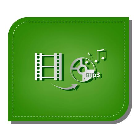 Video to audio converter sign. Silver gradient line icon with dark green shadow at ecological patched green leaf.