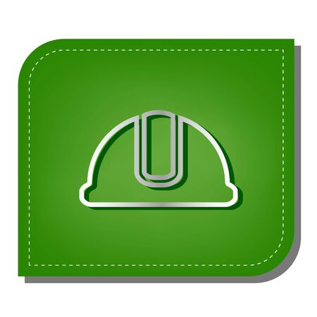 Hardhat sign. Silver gradient line icon with dark green shadow at ecological patched green leaf.