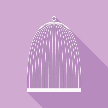 Bird cage sign. White Icon with long shadow at purple background.