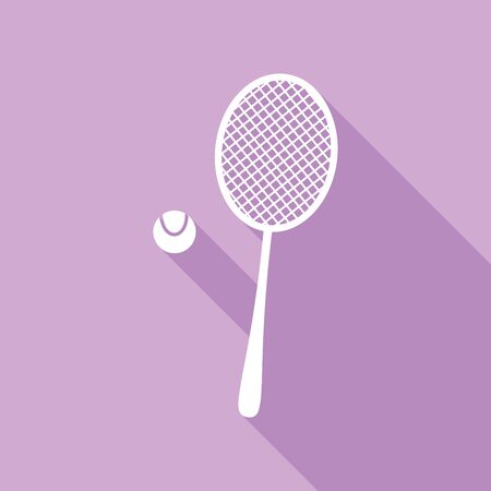 Tennis racquet with ball sign. White Icon with long shadow at purple background. Ilustração