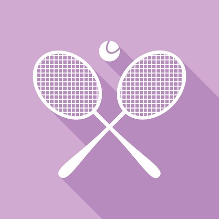 Two tennis racket with ball sign. White Icon with long shadow at purple background. Ilustração