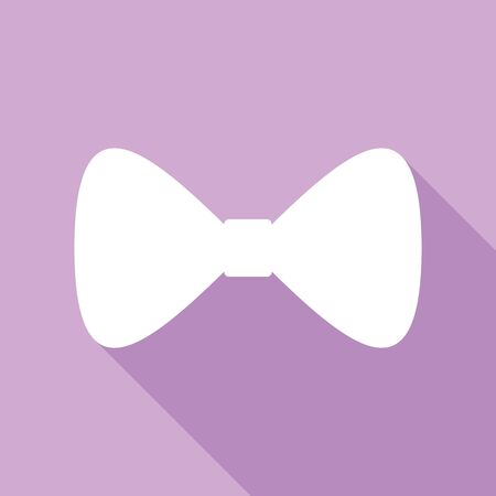 Bow Tie icon. White Icon with long shadow at purple background.