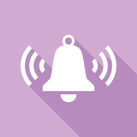 Ringing bell icon. White Icon with long shadow at purple background.