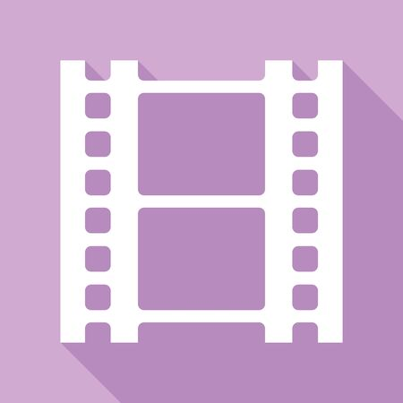 Reel of film sign. White Icon with long shadow at purple background.