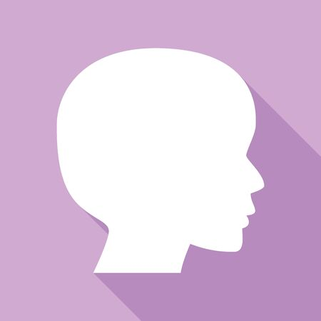 People head sign. White Icon with long shadow at purple background.