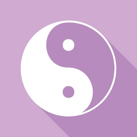 Ying yang symbol of harmony and balance. White Icon with long shadow at purple background.