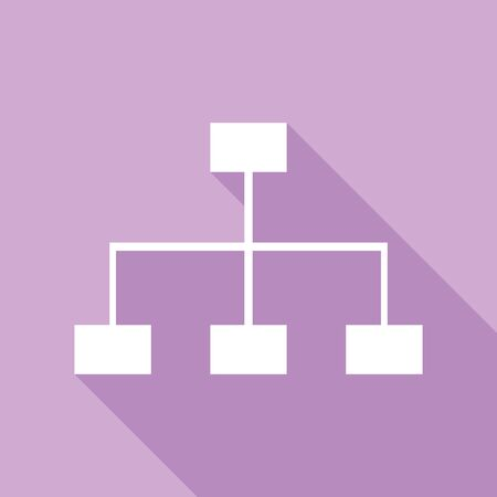 Site map sign. White Icon with long shadow at purple background.