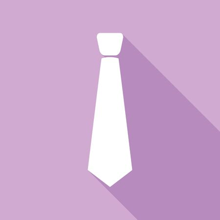 Tie sign illustration. White Icon with long shadow at purple background.