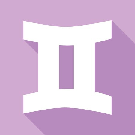 Gemini sign. White Icon with long shadow at purple background.