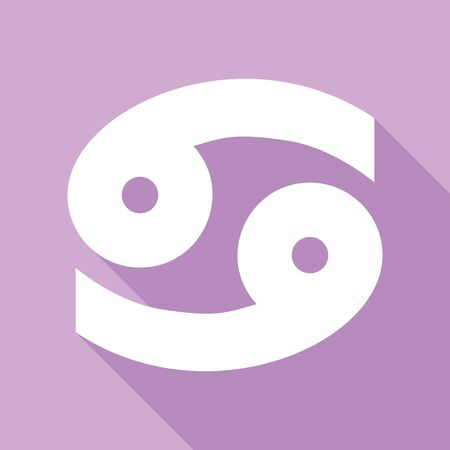 Cancer sign illustration. White Icon with long shadow at purple background.