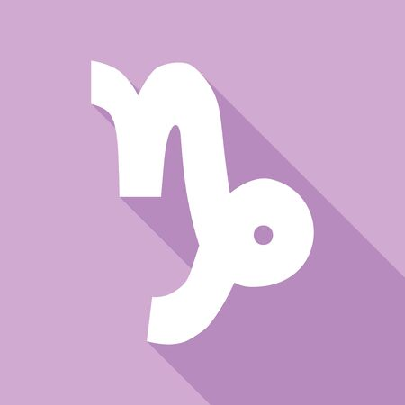 Capricorn sign illustration. White Icon with long shadow at purple background. 向量圖像