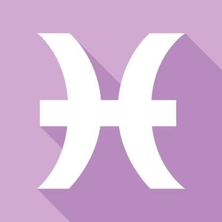 Pisces sign illustration. White Icon with long shadow at purple background.
