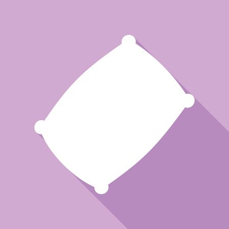 Pillow sign illustration. White Icon with long shadow at purple background.