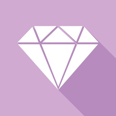 Diamond sign illustration. White Icon with long shadow at purple background. Ilustrace