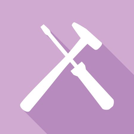 Tools sign illustration. White Icon with long shadow at purple background. Çizim