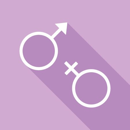 Sex symbol sign. White Icon with long shadow at purple background.
