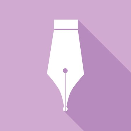 Pen sign illustration. White Icon with long shadow at purple background. Çizim