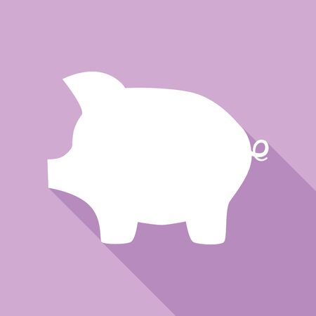 Pig money bank sign. White Icon with long shadow at purple background.