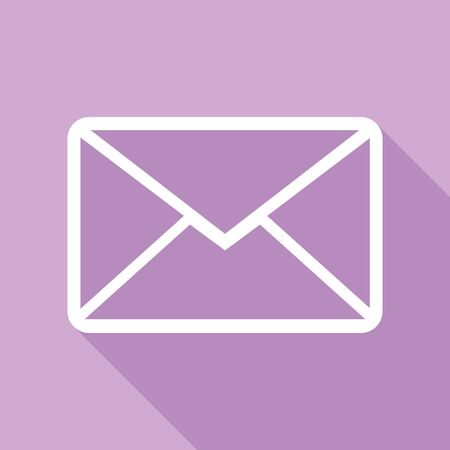 Letter sign illustration. White Icon with long shadow at purple background.