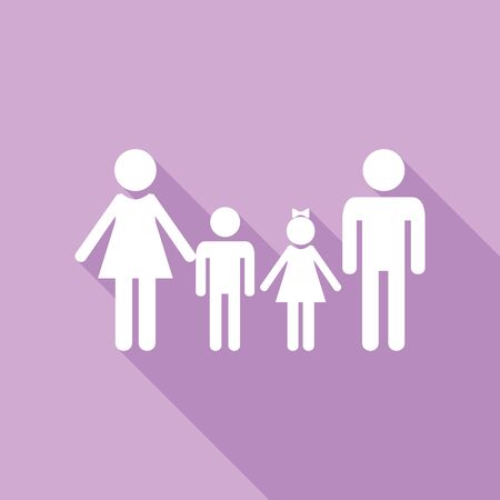 Family sign. White Icon with long shadow at purple background.