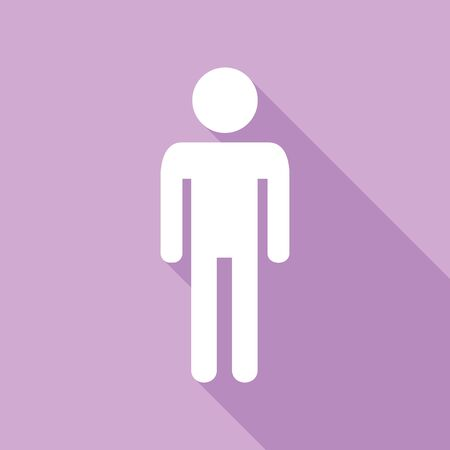 Man sign illustration. White Icon with long shadow at purple background.