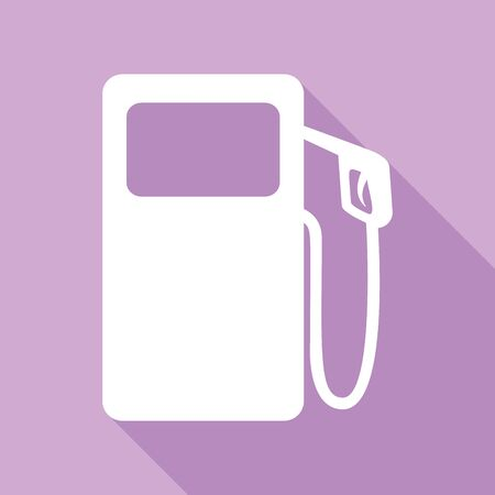 Gas pump sign. White Icon with long shadow at purple background.