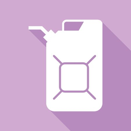 Jerrycan oil sign. Jerry can oil sign. White Icon with long shadow at purple background.