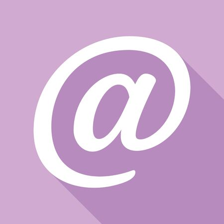 Mail sign illustration. White Icon with long shadow at purple background. Çizim