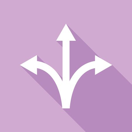 Three-way direction arrow sign. White Icon with long shadow at purple background.