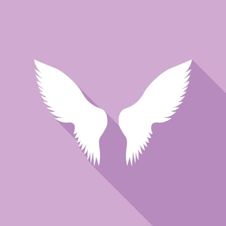 Wings sign illustration. White Icon with long shadow at purple background.