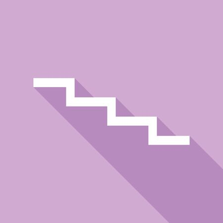 Stair down sign. White Icon with long shadow at purple background.