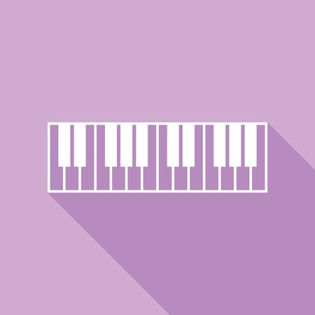 Piano Keyboard sign. White Icon with long shadow at purple background.