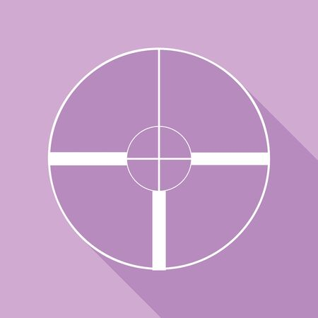 Sight sign illustration. White Icon with long shadow at purple background. Illustration