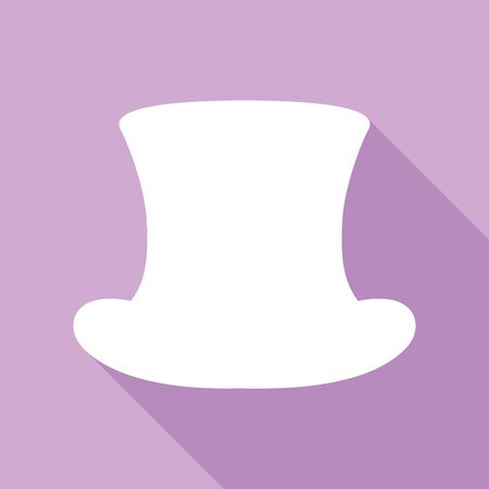 Top hat sign. White Icon with long shadow at purple background. Illustration