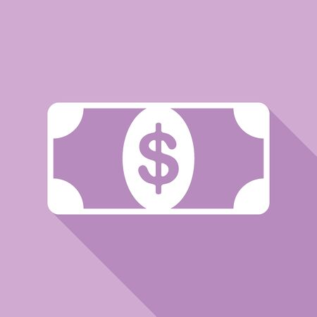 Bank Note dollar sign. White Icon with long shadow at purple background.