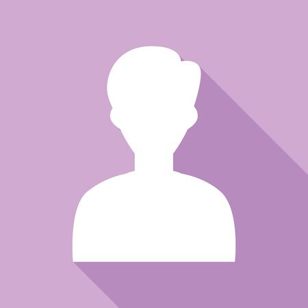 User avatar illustration. Anonymous sign. White Icon with long shadow at purple background.