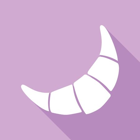 Croissant simple sign. White Icon with long shadow at purple background.