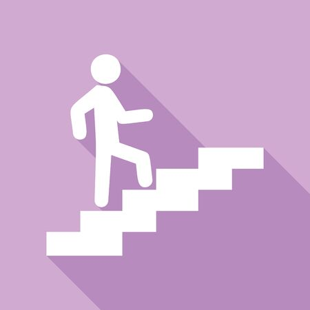 Man on Stairs going up. White Icon with long shadow at purple background.