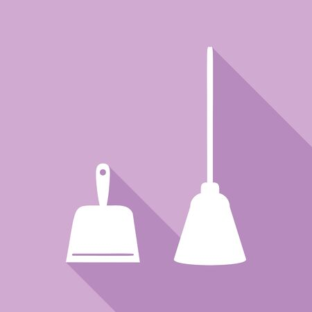 Dustpan equipment. White Icon with long shadow at purple background. Иллюстрация