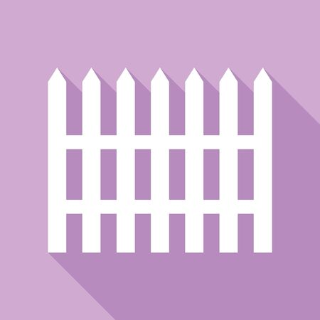 Fence simple sign. White Icon with long shadow at purple background.