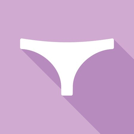 Women's panties sign. White Icon with long shadow at purple background.