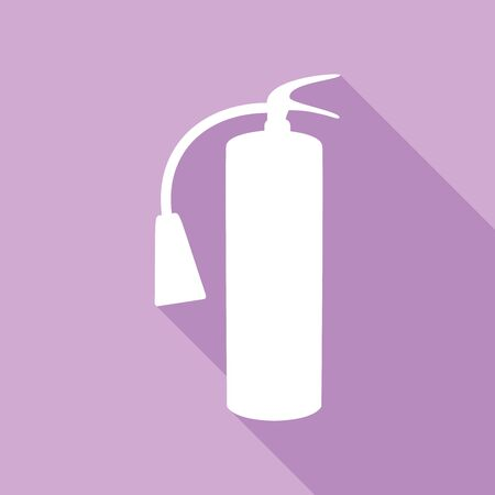 Fire extinguisher sign. White Icon with long shadow at purple background.
