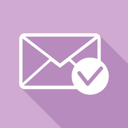 Mail sign illustration with allow mark. White Icon with long shadow at purple background. Çizim