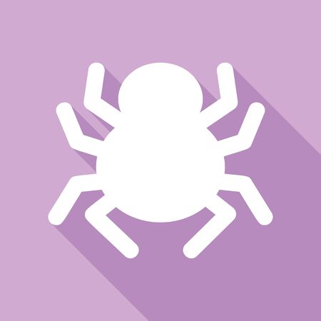 Spider sign illustration. White Icon with long shadow at purple background. Çizim