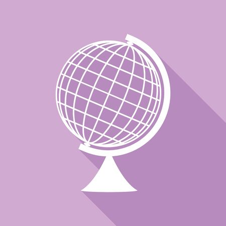 Earth Globe sign. White Icon with long shadow at purple background.