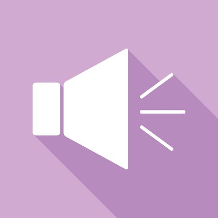 Sound sign illustration with mute mark. White Icon with long shadow at purple background.