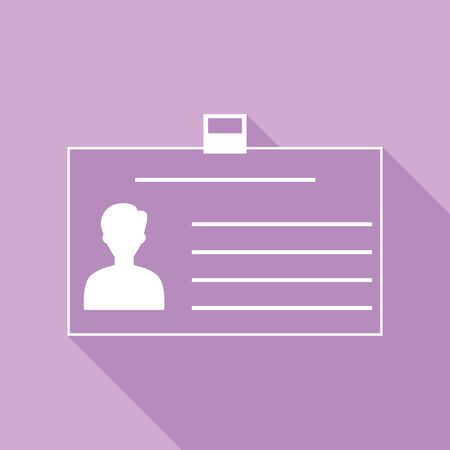 Identification card sign. White Icon with long shadow at purple background.