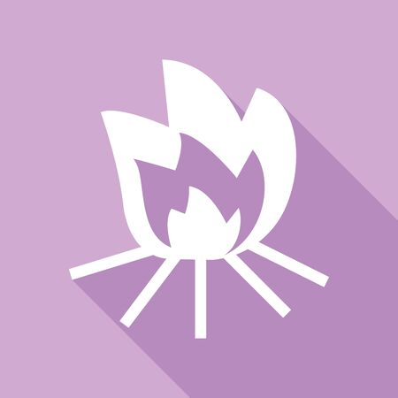 Fire sign. White Icon with long shadow at purple background. Illustration