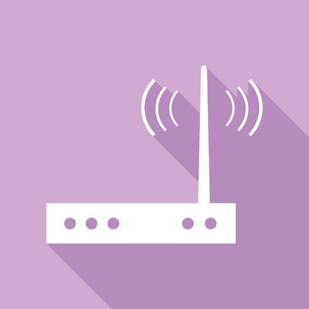 Wifi modem sign. White Icon with long shadow at purple background. Иллюстрация